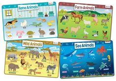 Animals Set of 4 Educational Kids Placemats includes Wild, Sea, Home and Farm Animals - Non Slip Washable Toddler Learning, Toddler Toys, Preschool Learning, Learning Tools, Learning Resources, Animals For Kids, Farm Animals, Educational Toys For Toddlers, Two Year Olds