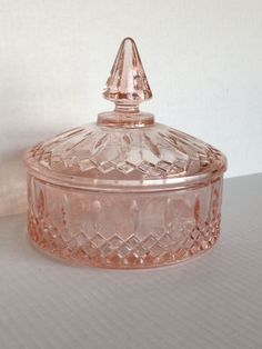 Depression glass rose pink candy dish jewelry box by lisaarena1, $55.00