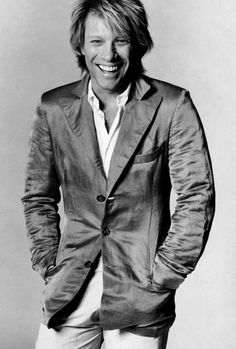 Jon Bon Jovi is one sharp-dressed man in this great black and white portrait! Ready for your wall. Jon Bon Jovi, Gorgeous Men, Beautiful People, Dorothea Hurley, Bon Jovi Always, Jesse James, Sharp Dressed Man, No One Loves Me, Cool Bands