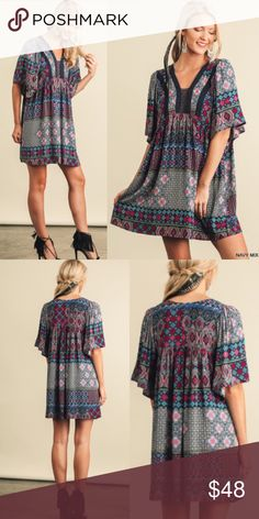 """❣NEW IN❣ Beautiful Tribal Multicolor Mini Dress Adorable dress! Sizes S M L. Approx 34.5"""" in length. Perfect for the upcoming warm seasons! Dresses Mini"""