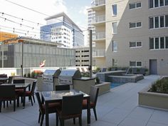 The amazing outdoor community space, complete with grills, at The Verve Apartments in Denver, Colorado