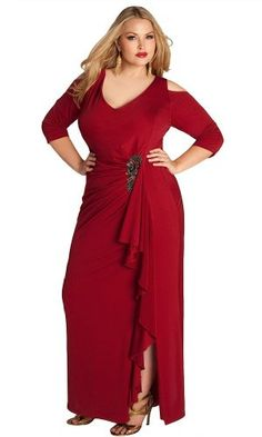 Red Dramatic ruffled v neckline for plus size