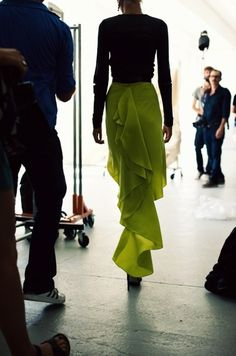 chartreuse and ruffled. win win.