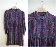Vintage Purple & Teal Paisley Dress 90s