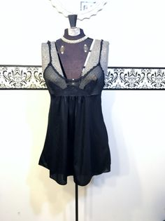 1950's Black Lace Pin Up Babydoll Negligee , Size Medium,  Vintage 1960's Pin Up Lingerie , 1950s Black Boudoir Teddy, 50s Bettie Page Teddy by RetrosaurusRex on Etsy