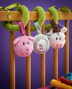 Crochet baby rattler- Idea only as it's a purchased pattern :( Crochet Baby Toys, Crochet Gifts, Cute Crochet, Crochet Animals, Crochet For Kids, Crochet Dolls, Baby Knitting, Knit Crochet, Crocheted Toys