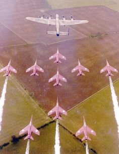 Old picture of the BBMF Lancaster and the Red Arrows Military Jets, Military Aircraft, Airplane Drawing, Military Flights, Plane Photos, Raf Red Arrows, Heritage Center, Different Shades Of Pink, Blue Angels