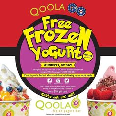 BIG NEWS QOOLA LOVERS!! Qoola is giving away #FREE frozen yogurt on #BC Day! Follow our social media closely on August 1st to make the most of this amazing deal. Check out the link in our bio for all the details. #TAG your friends!! This is a deal you don't want to miss out on!!! #qoola #vancitybuzz #YVR #deals #summer #frozenyogurt