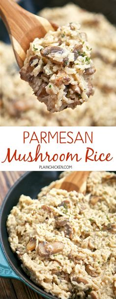 Parmesan Mushroom Rice - ready in 20 minutes! You'll never use the boxed stuff again! Rice, mushrooms garlic, chicken broth, milk, parmesan cheese and parsley. So easy and SOOOO delicious! You can leave out the mushrooms if you don't like them - great either way.