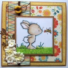 Made using Wild Rose Studio Stamps.  For more info please see my blog - http://www.kittyskrafty.blogspot.co.uk/2013/06/bunny-bee.html
