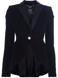 Black smoking jacket from McQ by Alexander McQueen featuring peak lapels, a single button fastening to the front, a back peplum and long sleeves.