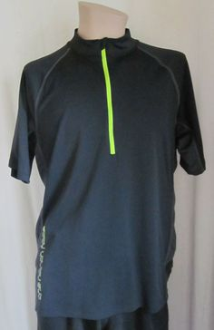 THE NORTH FACE VaporWick Black Gray Green Cycling Running 1/2 Zip Shirt XL  #TheNorthFace #BaseLayers