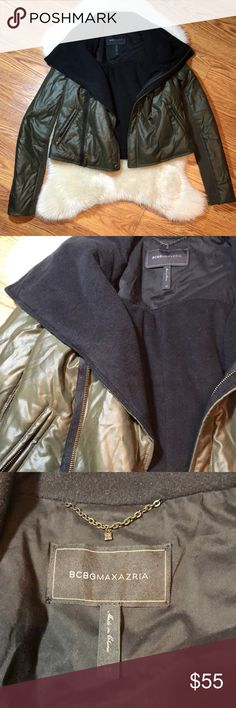 BCBG MAXAZRIA army green jacket BCBG MAXAZRIA army/olive green jacket. Black fleece inner lining. Size xs . Great condition! Worn maybe twice. Let me know if you have any questions. Thanks! BCBGMaxAzria Jackets & Coats Utility Jackets