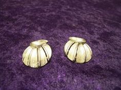 Linsner Signed Silver Tone 1960 Shell Earrings by 4RLoveOfAntiques,