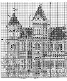 HOUSTON HOUSE 03 Cross Stitch House, Cross Stitch Tree, Cross Stitch Charts, Cross Stitch Patterns, Blackwork Cross Stitch, Cross Stitching, Cross Stitch Embroidery, Victorian Cross Stitch, Houston Houses