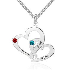 Post Included Aus Wide and to most international countries! >>> Double Hearts Birthstone Necklace - 925 Sterling Silver