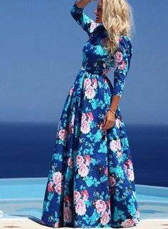 BLUE ROUND NECK LONG SLEEVE FLORAL MAXI DRESS