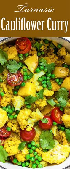 Easy vegetarian Cauliflower Curry with lots of anti-inflammatory Turmeric! With cauliflower, potatoes, tomatoes, and peas. Takes only 30 minutes!