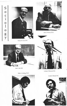 Department of Sociology faculty from the 1972 yearbook, LinC, page 108.  Yours truly is in the lower left corner.