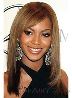 Beautiful Capless Medium Straight Grey 100% Beyonce Human Hair Wig