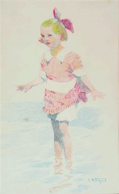 """""""Girl Wading,"""" Edward Henry Potthast, color pencil on paper, 10 x 7"""", private collection."""