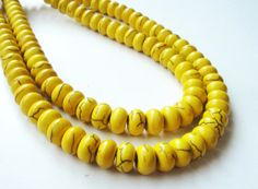 Yellow Rondelle Magnesite Gemstone  Beads 16 inch by BijiBijoux, https://www.etsy.com/listing/127480182/yellow-rondelle-magnesite-gemstone-beads