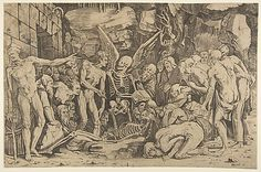 Engraved by Marco Dente (Italian, active by 1515–died 1527). Skeletons. The Metropolitan Museum of Art, New York. Gift of Mrs. John H. Sichel, 1966 (66.747.47)