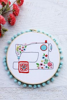 Floral Sewing Machine Pattern and Needle Minder (Flamingo Toes) Hand Embroidery Patterns Free, Sewing Machine Embroidery, Embroidery Hoop Art, Geometric Embroidery, Tatting Patterns, Sewing Notions, Machine Applique Designs, Sewing Machine Projects, Sewing Machines