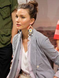 Grey Blazer, White Top & Statement earrings.