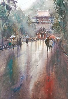 Kamakura, Japan I by Keiko Tanabe Watercolor ~ 19 x 13 inches (48 x 33 cm)
