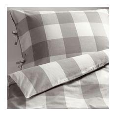 IKEA - EMMIE RUTA, Bettwäscheset, 2-teilig, 140x200/80x80 cm, , Vor dem Weben durchgefärbtes Garn für weiche, schmiegsame Bettwäsche.Dekorative Bänder am Bezug verhindern, dass die Decke herausrutscht.Zwei verschieden gemusterte Seiten - so lässt sich der Stil im Schlafzimmer nach Geschmack und Stimmung variieren.