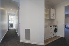 Laundry Nook | Storage Area | White Space Laundry Nook, Storage Area, White Space, Stacked Washer Dryer, Clutter, Home Appliances, Ideas, Organization, House Appliances