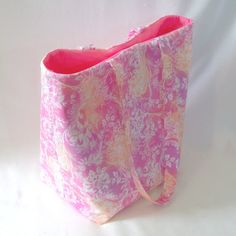 Pink Tote Bag Purse Handbag Fabric Bag Floral by ColleensDesigns, $35.00