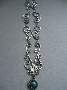Sterling Silver Filigree Necklace with Moss Agate - Wrought Iron Architecturally Inspired Series | by JaneFont