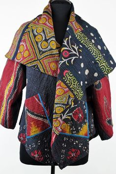 1. Find old sarees.  2. Make quilt.  3. Fashion into jacket.  - Mieko Mintz Red, Navy Circular Kantha Jacket, Santa Fe Dry Goods