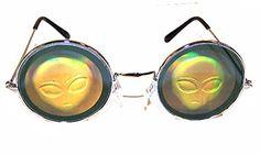 1 Pair of Round Alien Head Hologram Glasses - Aliens 3d Novelty Unisex Novelty Sunglasses