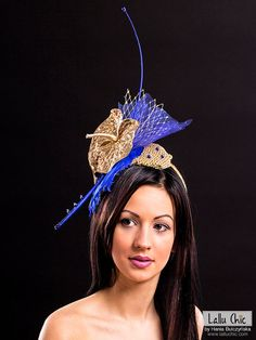 Blue Cobalt Gold Hat BLUE PARROT  Bridal Party Derby Races French Veil Netting Wedding Headpiece Feathers Cobalt Fascinator Ostrich Spine