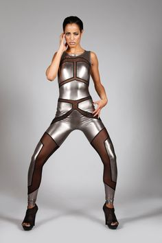 Robot Catsuit, Metallic Silver Spandex & Mesh Leotard, Sexy Halloween Costume, Futuristic Stage Wear, Space Age Clothing, by LENA QUIST by LenaQuistDesign on Etsy https://www.etsy.com/listing/194254157/robot-catsuit-metallic-silver-spandex