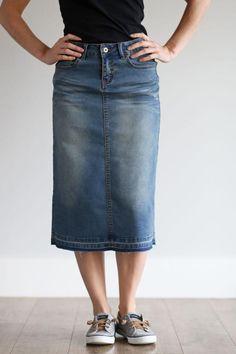 e62fc7c83f4de  Jacki  Vintage Wash Below the Knee Length Jean Skirt Modest Skirts