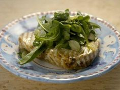 "Grilled Swordfish with Candied Lemon Salad - Giada De Laurentiis, ""Giada in Italy"" on the Food Network."