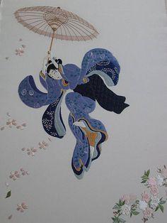 """Broderie japonaise : Tableau """"Beauté sautant dans le vide"""""""