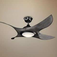 "52"" Kichler Shuriken LED Satin Black Finish Ceiling Fan - #7K354 | Lamps Plus"