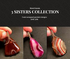 """TUTORIAL """"3 Sisters Collection"""" PDF pattern book,wire wrap weave jewelry,cabochon,wrapping weaving,wrapped weaved,large,big pendant design"""
