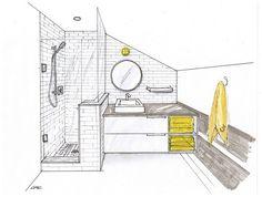 Bathroom Designs, Stylish Bathroom Sketch Design Featuring Corner Glass Bathroom Vanities Towel Racks Ideas Using With Bathroom Planner Tool. Drawing Interior, Interior Design Sketches, Interior Rendering, Sketch Design, Interior Architecture, 3d Rendering, Amazing Architecture, Bathroom Drawing, Master Bathroom Shower