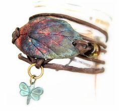 Silk Wrap Bracelet Copper Raku Pottery Beaded Leaf Charm Bracelet - Handmade in US - Copper Metallic Ceramic Jewelry