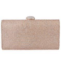 Ainemay Whole Diamond Mesh Flap Clutch Bag Women Party Handbag Gold Check