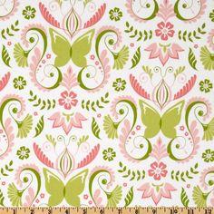 Michael Miller Bella Butterfly Butterfly Damask Bloom Pink - Discount Designer Fabric - Fabric.com