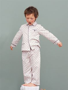 Boys pajamas from France. A neutral colored Christmas Eve option. (The polka dots are actually stars.)