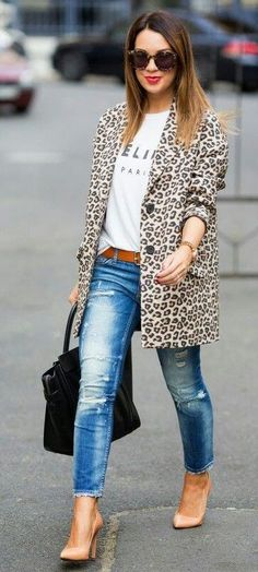 31 trendy leopard coat outfits that are actually easy to copy #jeansoutfit