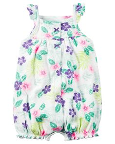 Crafted with super soft cotton and a cute little print, this easy 1-piece makes getting dressed a snap.